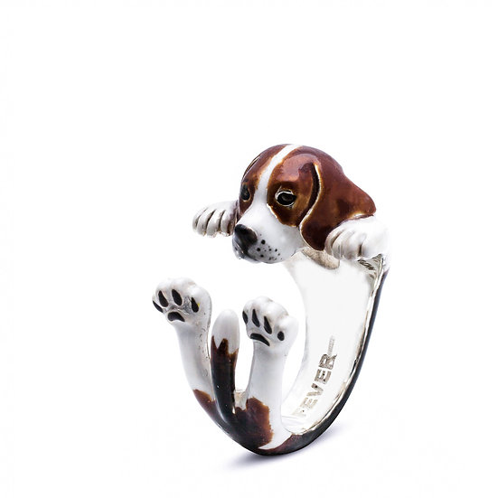Hug Ring, Beagle-Enamel/Sterling Silver