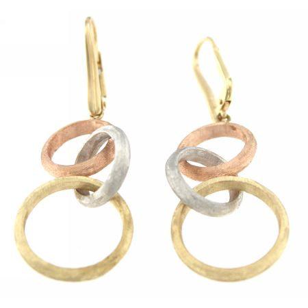 14K Circle Link Drop Earrings