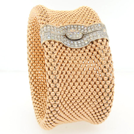 "14K Soft Mesh 1 1/4"" rose gold diamond bracelet"