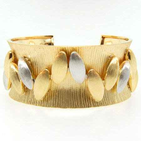 14K Yellow Gold Open Cuff Bangle with Oval Two Tone Bead Links