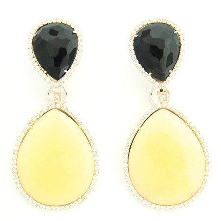Diamond & 2 Tear Drop Stone Earrings