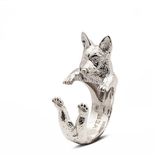 Hug Ring, Welshi Corgi - Sterling Silver