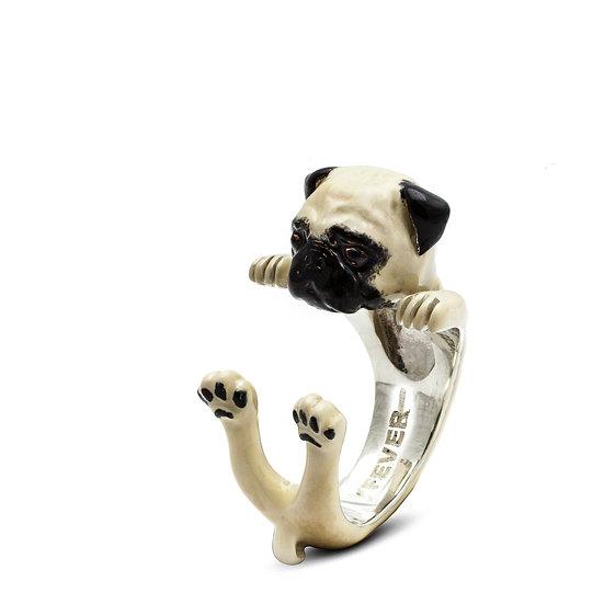 Hug Ring, Pug-Enamel/Sterling Silver