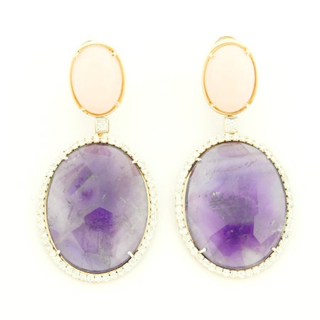 Diamond Amethyst & Pink Quartz Oval Earrings