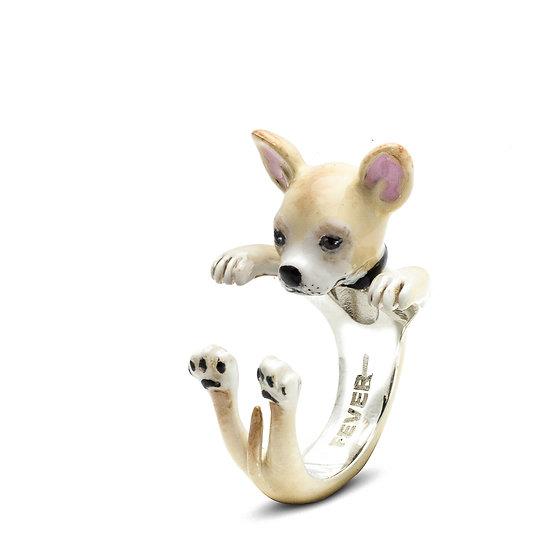 Hug Ring, Chihuahua-Enamel/Sterling Silver