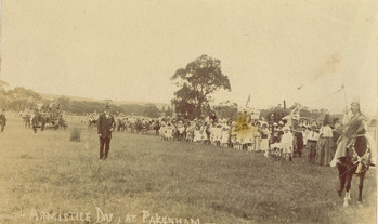 The children gathered at the Recreation Reserve