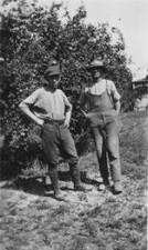 Ted & Percy Appleton on the family property in Pakenham Upper