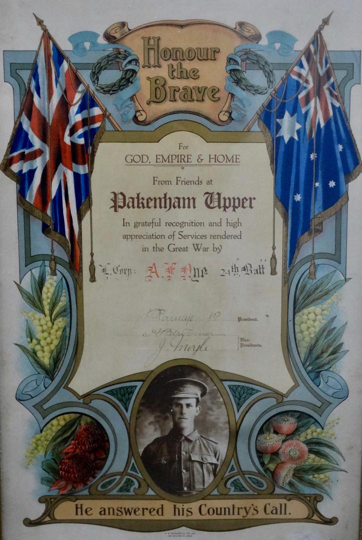 Certificate presented to Albert Nye of Pakenham Upper
