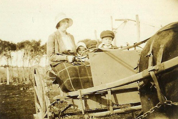 Clarice Lasich driving to Pakenham to shop 1920s