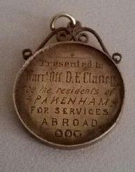 Medal presented to David Clancy of Pakenham East