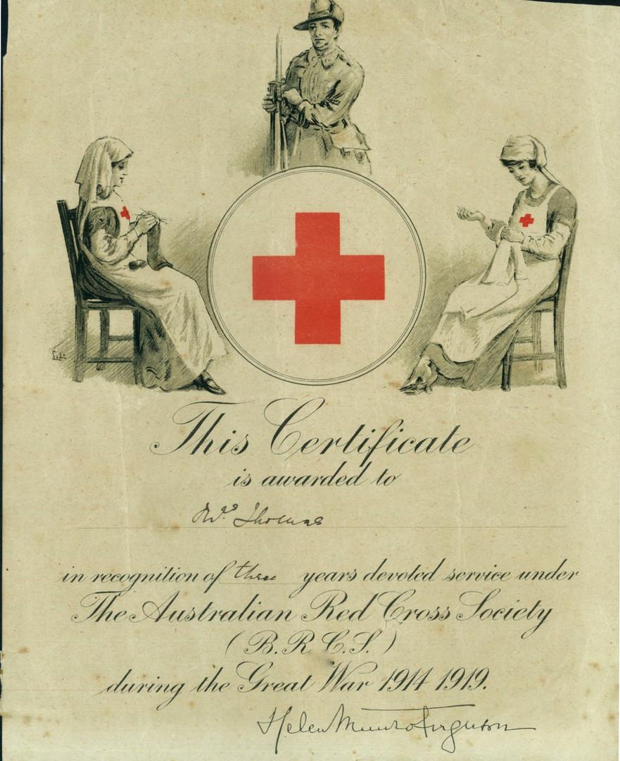 Red Cross certificate presented to Elizabeth Thomas