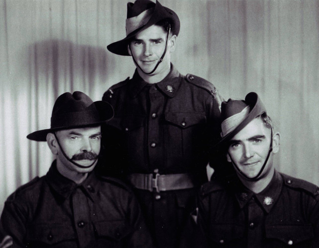 James Cornwall with his sons during WWII