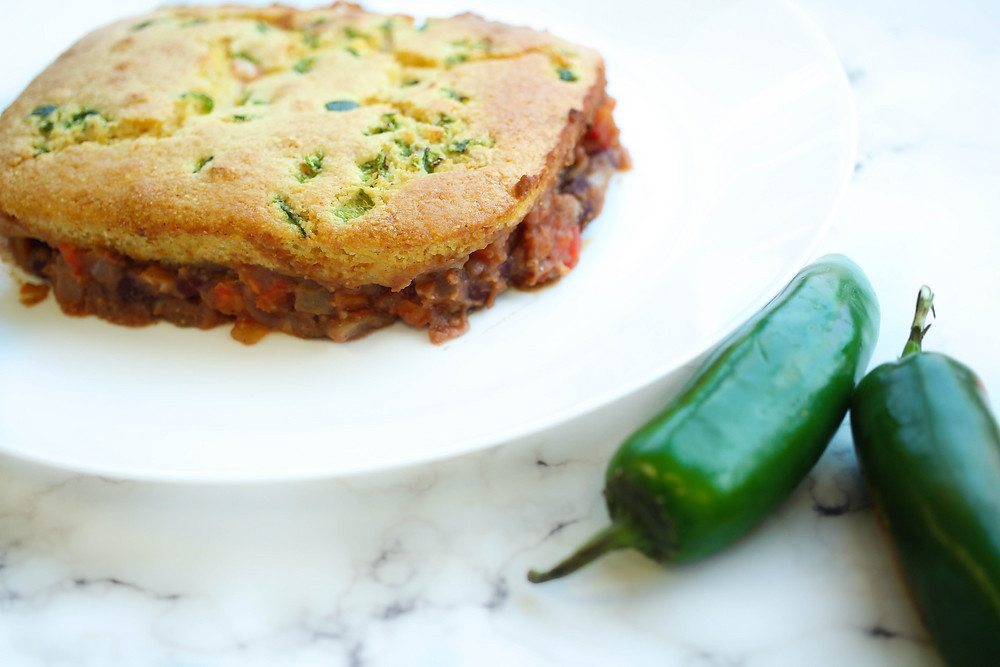 Tamale Pie with Cornread on top and refried beans and jalapeno inside