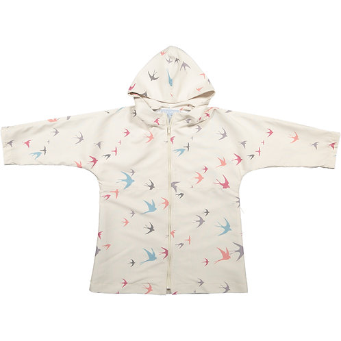 Hooded swallows rain coat