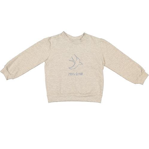 Light Grey Swallows Print Sweatshirt