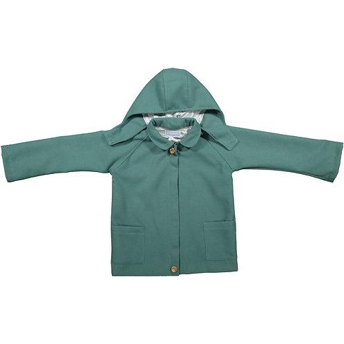 Blue Hooded three-Quarter-Length Coat