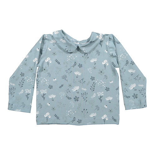 Blue flowers baby long sleeve jersey blouse