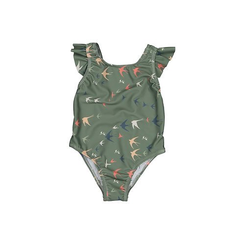 Green swimsuit with swallows