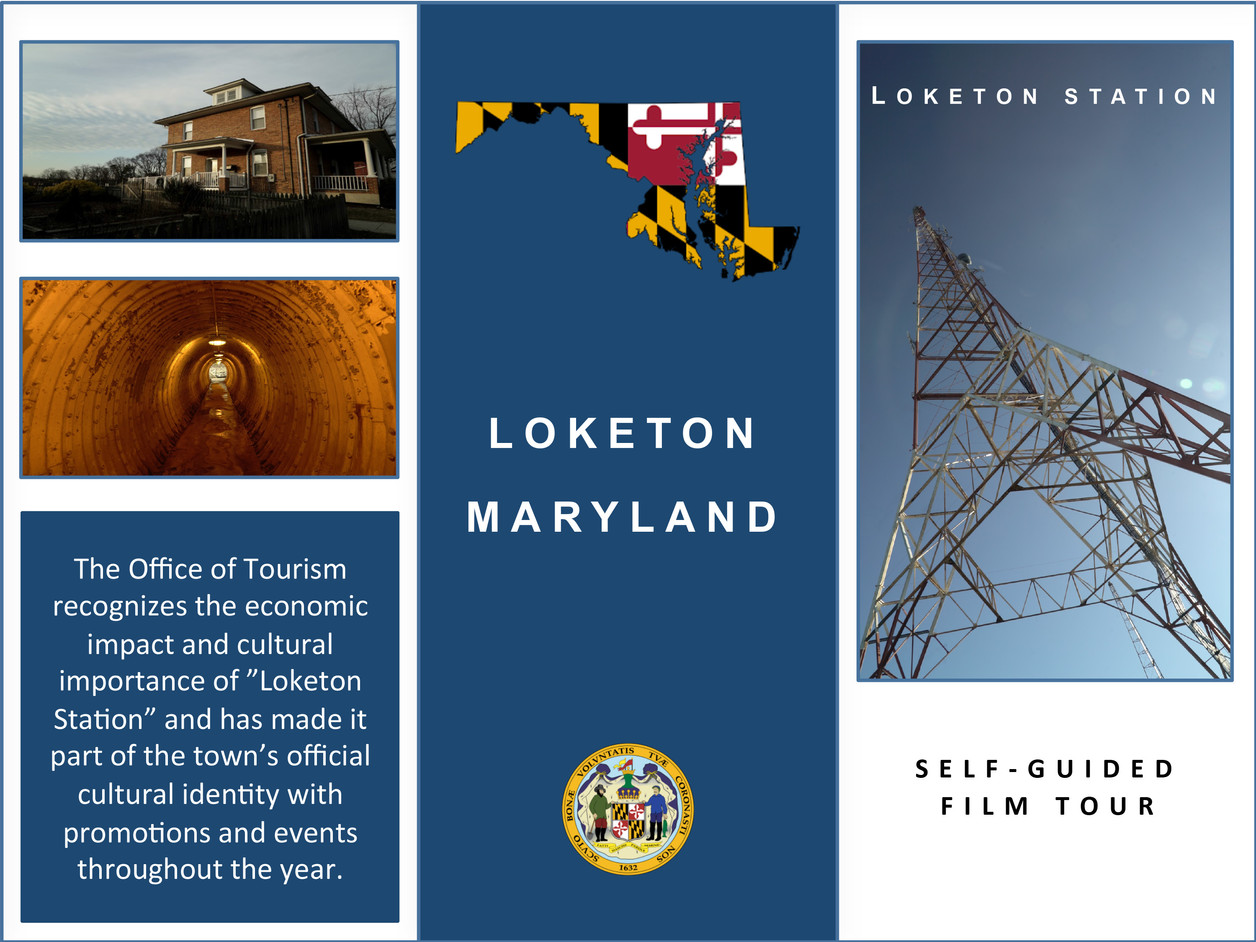 """Front page of the self-guided film tour brochure featuring iconic sites in the film """"Loketon Station"""""""