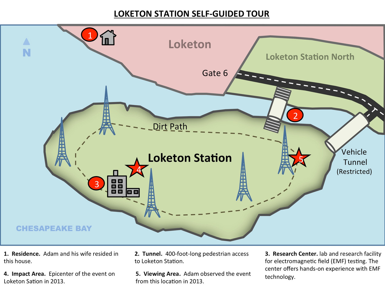 """Back page of the self-guided film tour brochure featuring iconic sites in the film """"Loketon Station"""""""