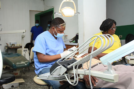 Dentist treating a patient at Bethesda Medical Center in Haiti