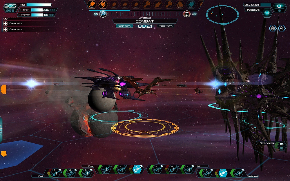A Genari Interdictor Destroyer comes in for a close combat run against the Hive Entity.