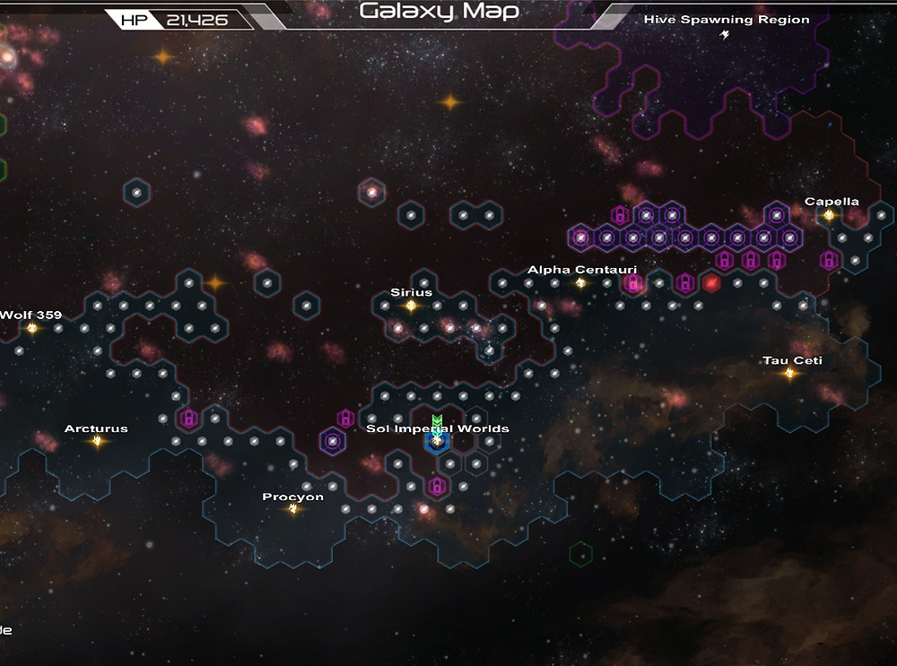 The Red Sectors are controlled by Genari, Blue is Sol.