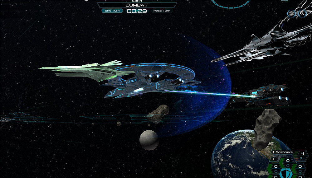 The final battle around Earth, with the Beam Platform flagship.