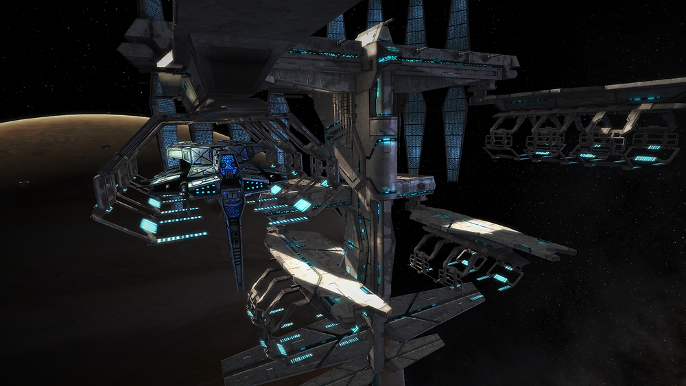 The Colossus docked at a station