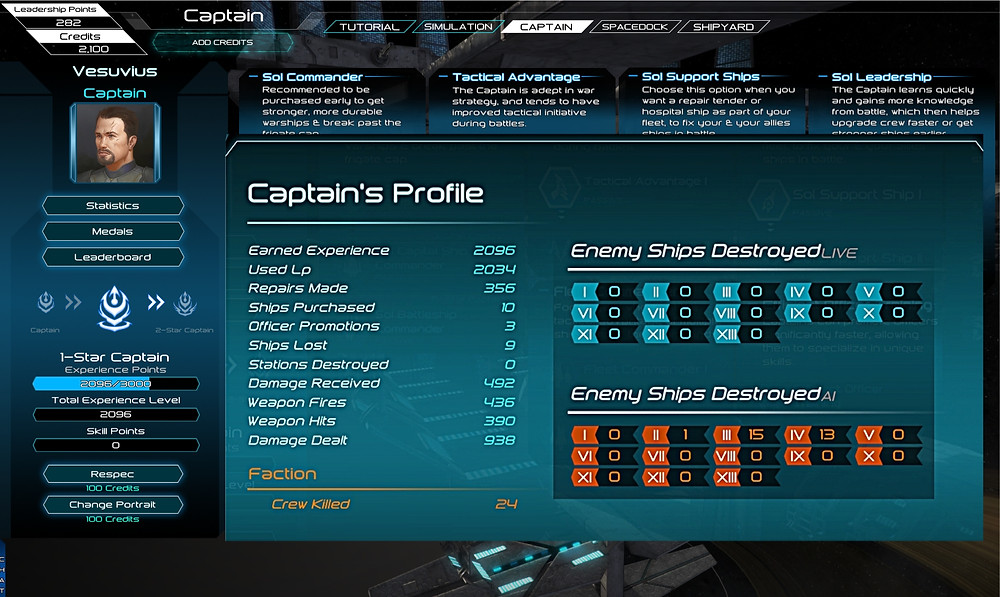 Captain's Statistics Window