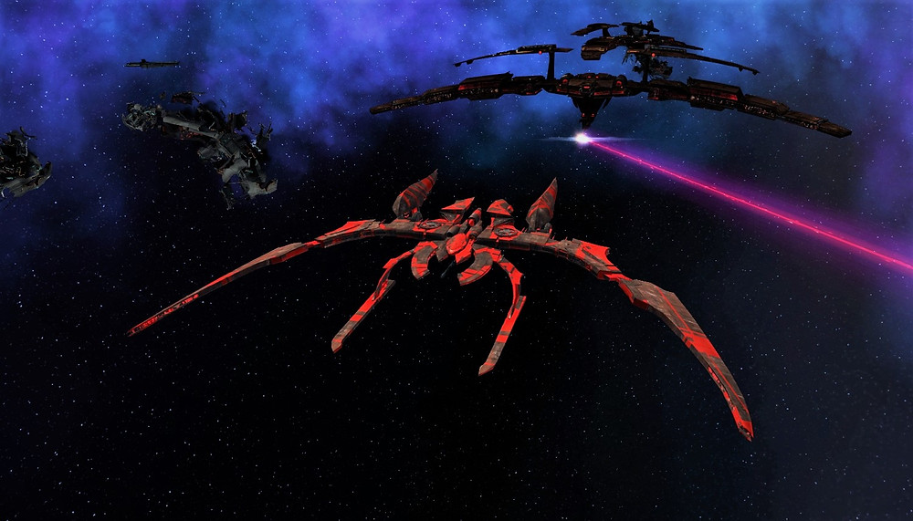 Agile Flyer in front of a Great Wing heavy cruiser