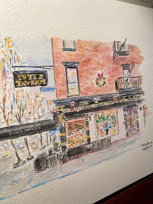 Pete's Tavern - Holiday Version - Original Painting