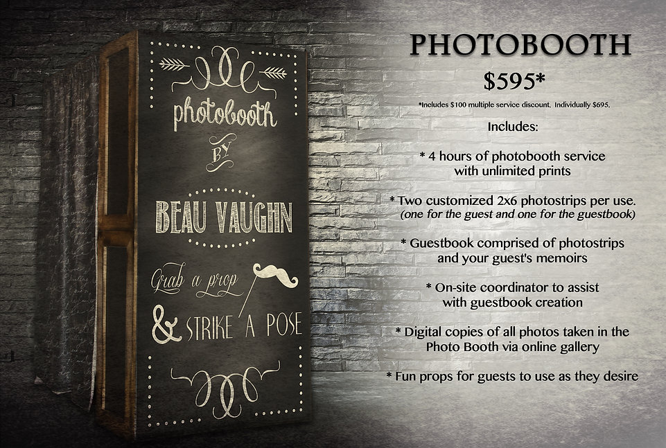 Beau Vaughn Photography's Photoboth. Photbooth pricing information