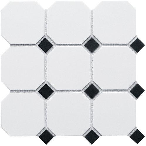 Керамическая мозаика Octagon big White/Black Matt (GTPL61466) 300х300х6
