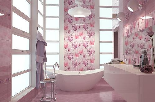 Панно Flora 600х500 (3х200х500) розовый