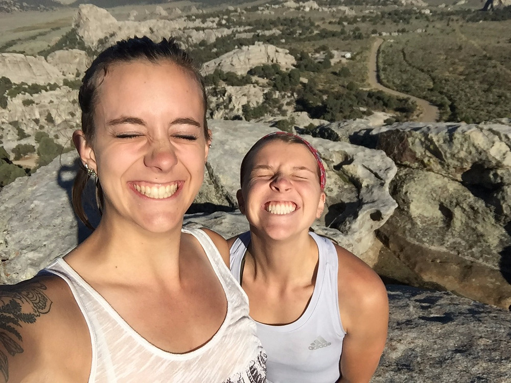 Fallon and I taking a break from the learning in City of Rocks, ID, Sept. 2017.