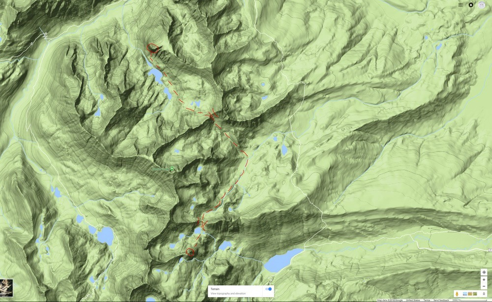 Our backcountry route we took from the Perch to the Finger.