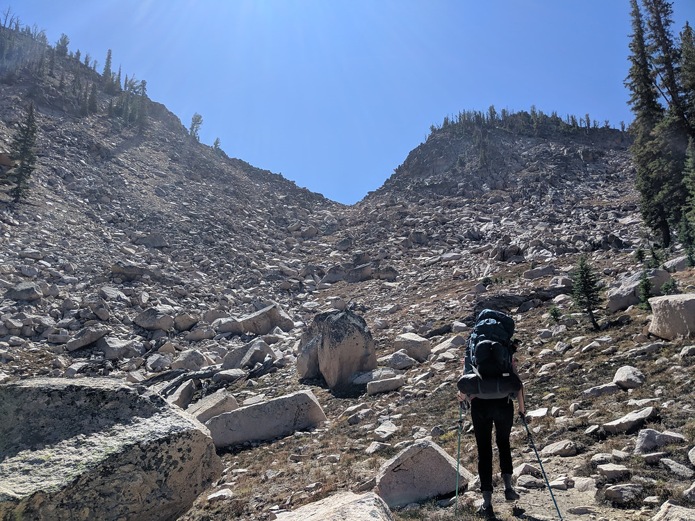 Hiking the notch in the ridge line toward Finger of Fate