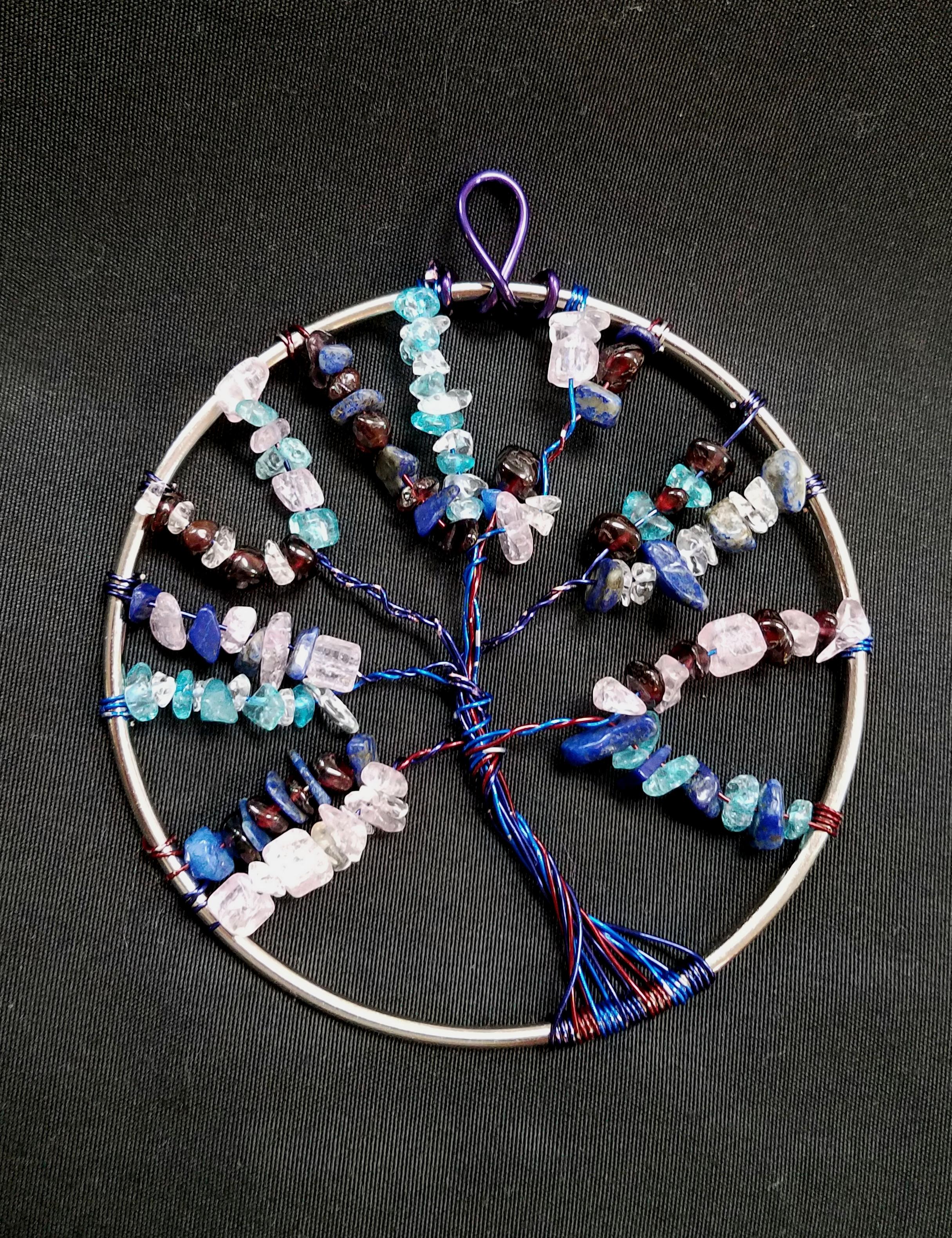 beaded tree of life blue