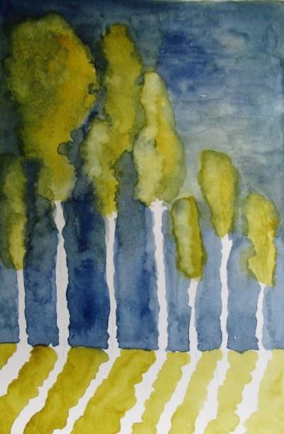Les Arbres - Aquarelle - Eliane Robin