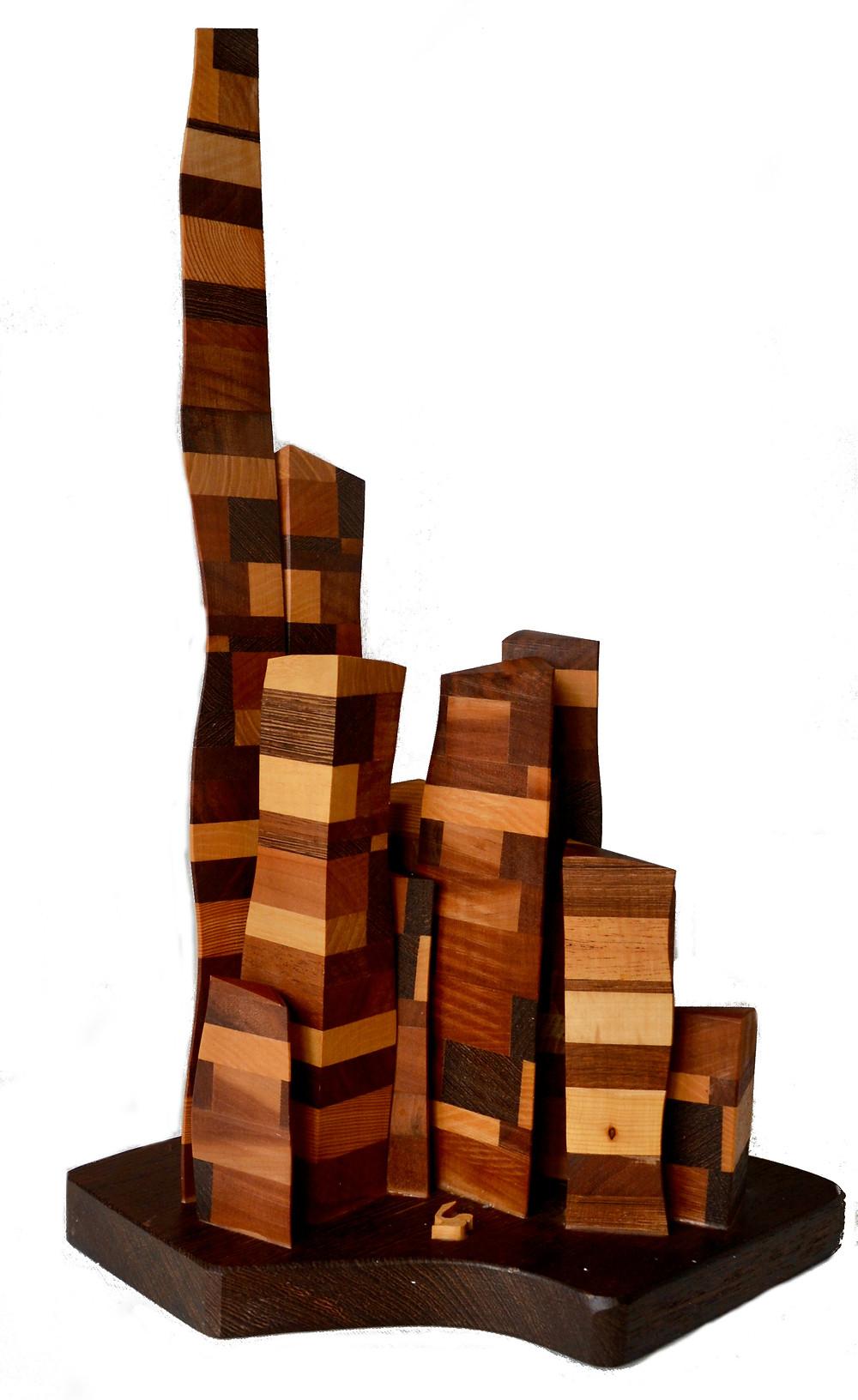 Panaché - sculpture différentes essences de bois
