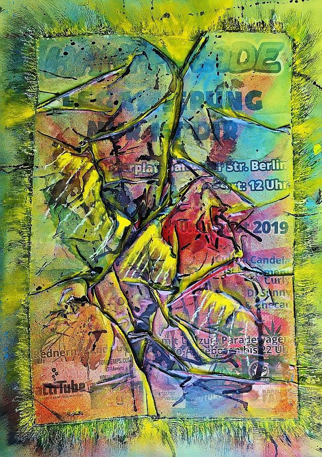 """LAM - """"Berlin, No x"""" - collages d'affiches, acrylique, bombe aérosol, encre de chine sur plaque de plexiglas"""