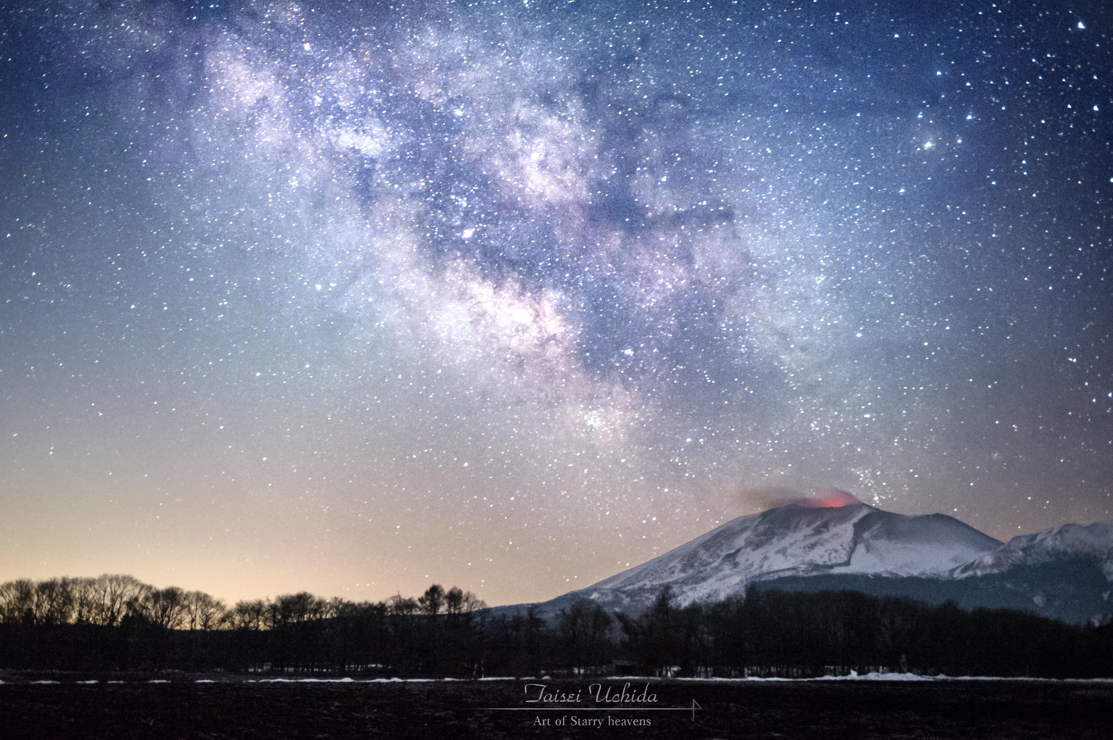 浅間山火映と天の川