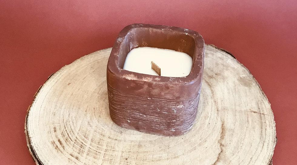 Bougie Cube terre cuite terracotta mèche crépitante parfum au choix