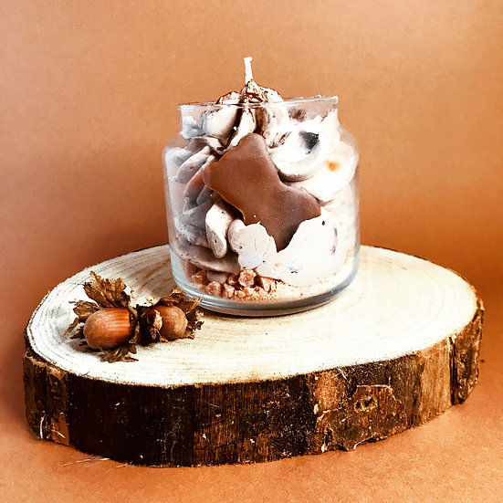 Bougie chantilly Pot gourmand ourson guimauve praliné