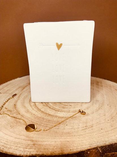 Bougie bijou vase céramique précieux feuilles d'or mèche crépitante