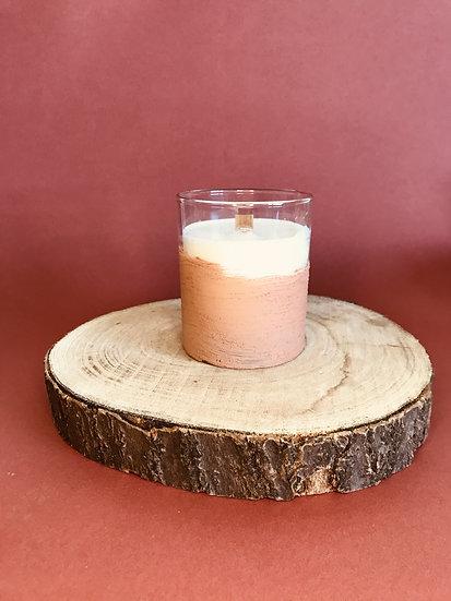 Bougie peinte Terracotta mèche crépitante parfum au choix
