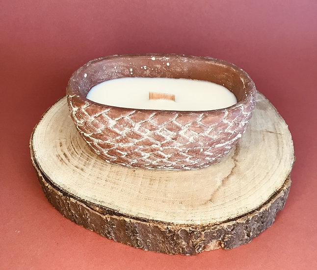 Bougie terre cuite terracotta mèche crépitante parfum au choix