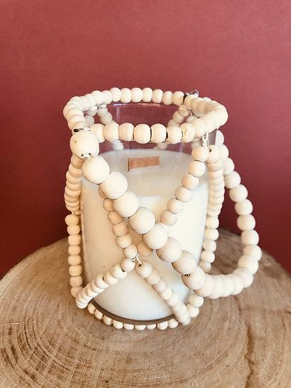 Grosse Bougie perles bois mèche crépitante parfum au choix