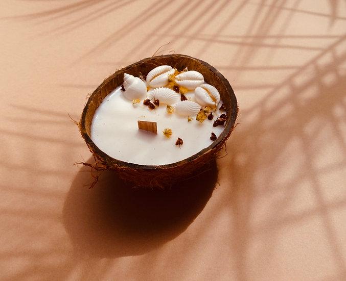 Bougie coque noix de coco naturelle
